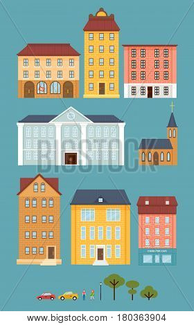 Flat city landscape elements set with living and municipal buildings cars people and trees isolated vector illustration
