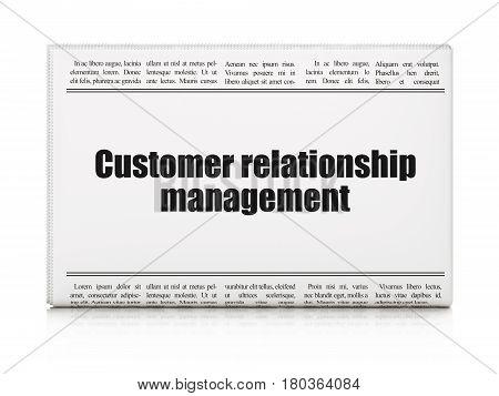 Marketing concept: newspaper headline Customer Relationship Management on White background, 3D rendering