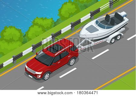 The SUV drives a motor boat along the road along the sea. Summer vacation on the sea and motor boat rides. Vector isometric icon or infographic element.