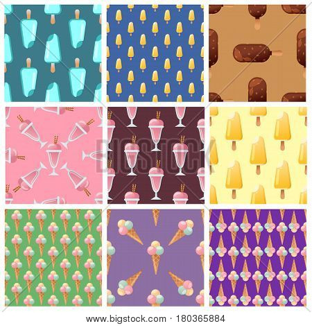 Sweet ice cream set seamless pattern. Tasty cartoon frozen ice cream collection vector delicious backgroundand. Set of ice cartoon colorful ice-cream desserts vector illustration