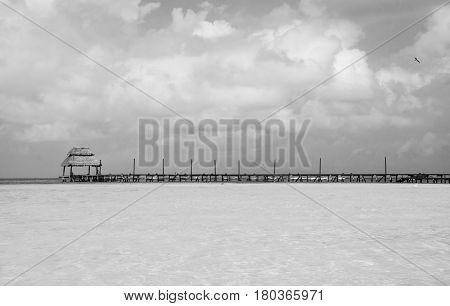 beach dock black and white in caribbean sea