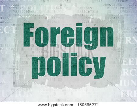 Political concept: Painted green text Foreign Policy on Digital Data Paper background with   Tag Cloud
