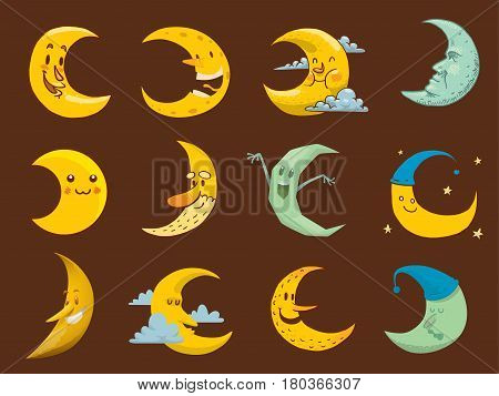 Different moon nature cosmos cycle satellite surface. Whole cycle from new moon month to full surface star astrology sphere. illustration moon face month astronomy space lunar.