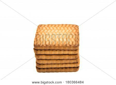 square Biscuit isolated on white background cracker
