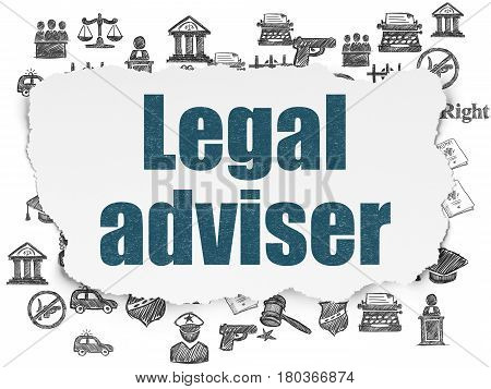 Law concept: Painted blue text Legal Adviser on Torn Paper background with  Hand Drawn Law Icons