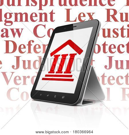 Law concept: Tablet Computer with  red Courthouse icon on display,  Tag Cloud background, 3D rendering