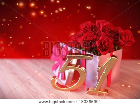 birthday concept with red roses in gift on wooden desk. 3D render - fifty-first birthday. 51st