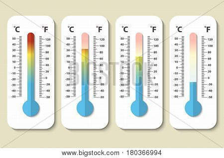 Vector icons of Celsius and Fahrenheit meteorology thermometers measuring heat, normal and cold in flat style. Design template, EPS10 illustration.