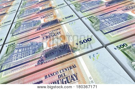 Uruguayan peso bills stacks background. 3D illustration.