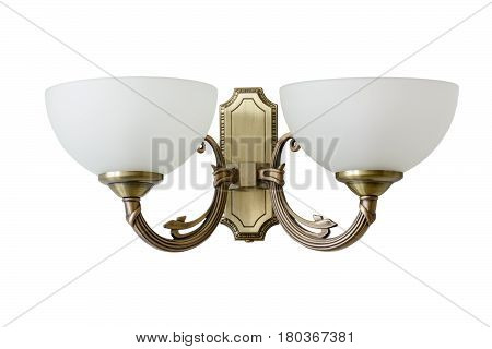 Vintage Sconce With White Glass Shades. Isolated, White Background.