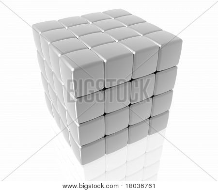 4 Layer Silver Cube