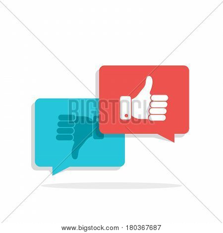 Thumbs up and Thumbs down symbol in speech bubbles. Social network, social media concept for websites, web banner. Long shadow. Flat vector illustration isolated on white background