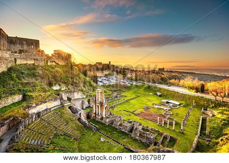 Volterra roman theatre ruins at sunset. 1st century bce Tuscany Italy Europe.