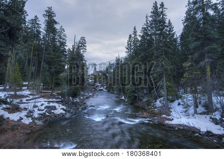 Spring thaw in the snowy mountains of Icicle Creek in Wenatchee National Forest Washington. HDR image.