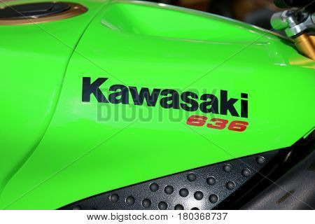 Kawasaki 636 Sticker On Motorcycle At Yearly Mass Ride