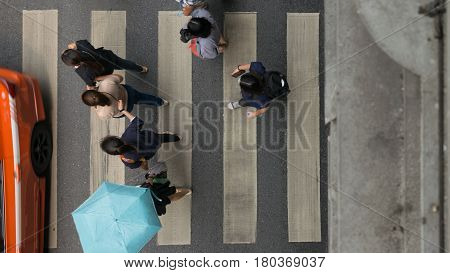 Crosswalk Or Zebra Crossing In Bangkok City Thailand.