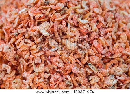 Dried shrimps at the fish market in Maha Chai Samut Sakhon Province Thailand.