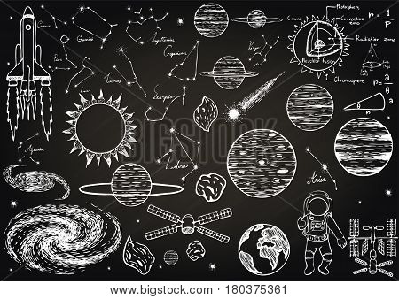 Hand drawn about outer space on chalkboard for background. Vector illustration.