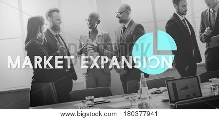 Business people discussing market expansion