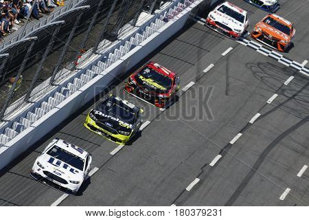 April 02, 2017 - Martinsville, Virginia, USA: Brad Keselowski (2) leads the field to turn one during the STP 500 at Martinsville Speedway in Martinsville, Virginia.