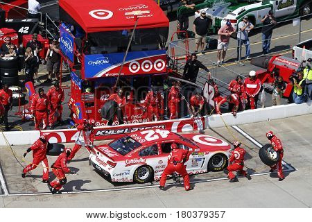 April 02, 2017 - Martinsville, Virginia, USA: Kyle Larson (42) pits his Chevrolet SS during the STP 500 at Martinsville Speedway in Martinsville, Virginia.