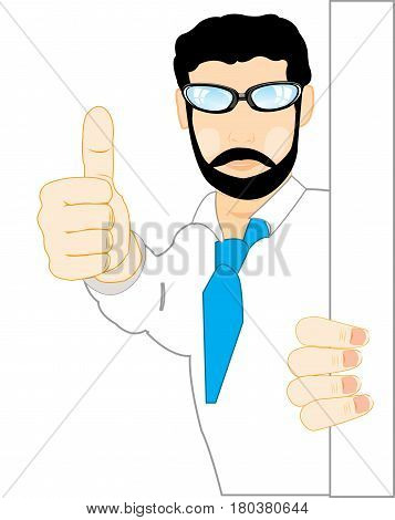 Man shows extended finger a gesture approvals