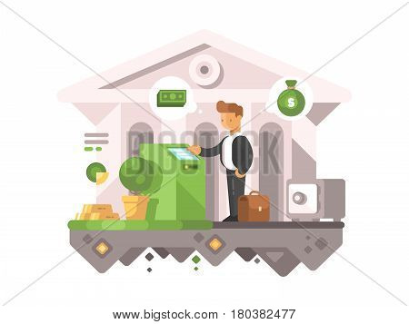 Businessman withdraws money from ATM. Financial transactions in banks. Vector illustration