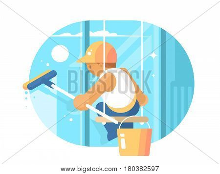 Window cleaner washes glass hanging on ropes. Vector flart illustration