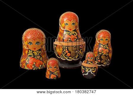 Matryoshka Dolls Isolated on Black Background with Clipping Path