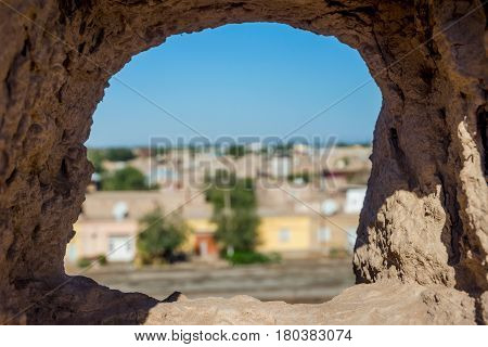 View Over Khiva Through The City Wall's Hole