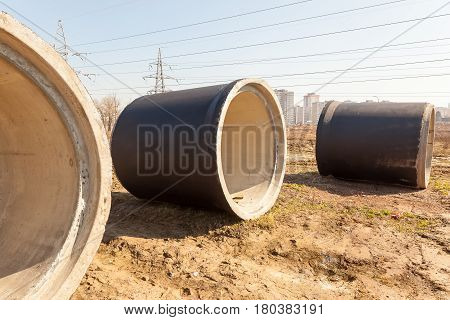 sewer, pipe, sewage, construction, ditch, trench, equipment, drainage, industry, work, water, road, industrial, infrastructure, large, diameter, concrete, outdoor, site, contractor, metal, business, technology, treatment, line, earth, land, safety, engine
