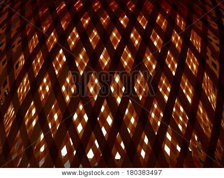 Background Pattern Lamp of Brown Bamboo Handicraft Weave Texture Wicker with Light for Furniture Material.