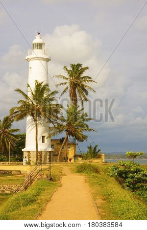 Lighthouse at Fort Galle Sri Lanka vertical view