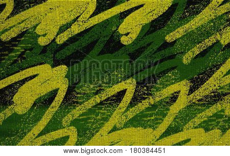Canvas. Fabric.  Abstract patterns. Green background. Green canvas. Art. Artwork. Artistic background.
