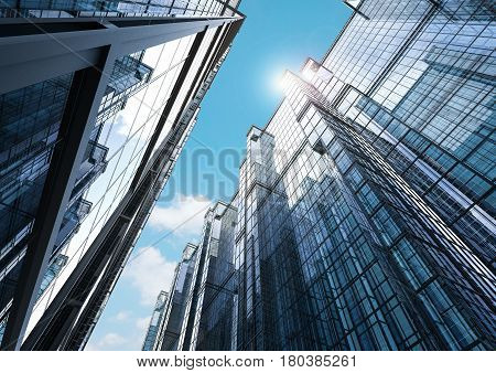 3d rendering highrise office building with blue sky