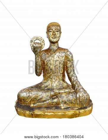 Smile buddha statue at public temple in Thailand isolated on white background