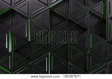 Pattern Of Black Triangle Prisms With Green Glowing Lines