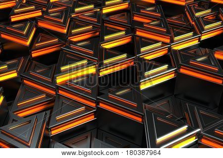 Pattern Of Black Triangle Prisms With Orange Glowing Lines