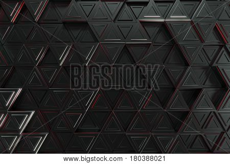 Pattern Of Black Triangle Prisms With Red Glowing Lines
