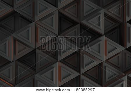 Pattern of grey triangle prisms with orange glowing lines. Wall of prisms. Abstract background. 3D rendering illustration.