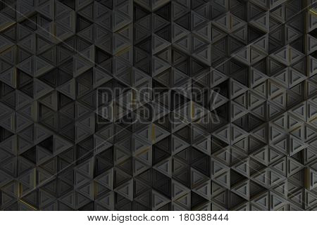 Pattern Of Grey Triangle Prisms With Yellow Glowing Lines