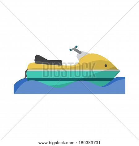 Water transport scooter jet ski boat. Vector flat cartoon illustration isolated on a white background