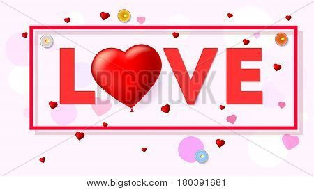 Love card with typography a large red heart in the form of an inflatable, scarlet balloon. Top view on composition with candles, tinsel and confetti. Template for creative persons