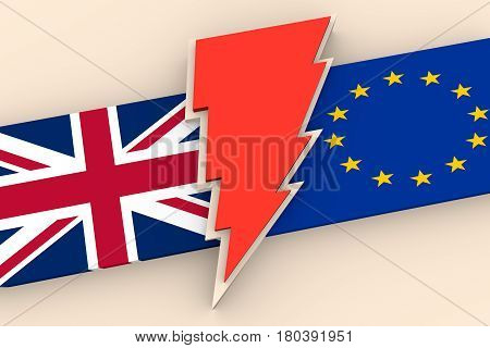 Image relative to politic situation between Great Britain and European Union. Politic process named as brexit. National flags and lighting. 3D rendering
