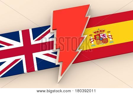Image relative to politic situation between Great Britain and Spain. Politic process named as brexit. National flags and lighting. 3D rendering