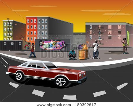 Illustration of a Ghetto with black people and graffiti