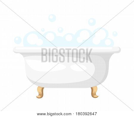 Bathtub With Soapsuds In A Tiled Bathroom Bathtub Icon For Interiors Flat Design Style Vector Illust