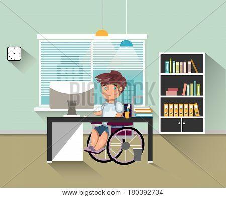 Handicapped man work in office. Vector illustration