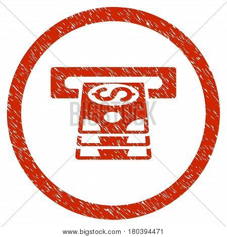 Bank Cashpoint grainy textured icon inside circle for overlay watermark stamps. Flat symbol with dirty texture. Circled vector red rubber seal stamp with grunge design.