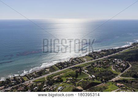 Aerial view of the Malibu coast near Los Angeles California.